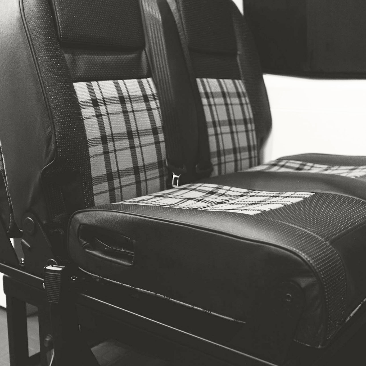 Nomad Vanz Upholstery - Authentic VW tartan fabric with perforated leather accents
